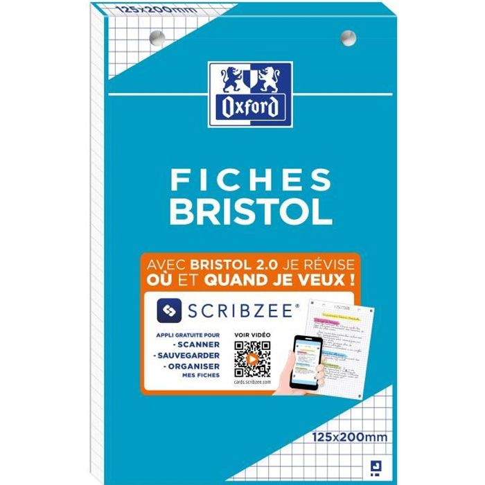 OXFORD Bloc fiche bristol 2.0 perforé - 12,5 x 20 cm - 30 fiches - 210g - 5x5