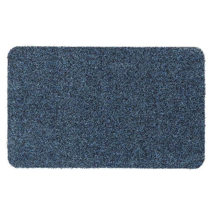 Couleur bleu denim mouchetée de noir - Lavable 30° - 100% polyester - 50x80 cm - Usage intérieurTAPIS D'ENTREE - TAPIS DE SEUIL