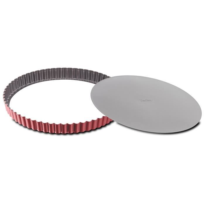 TEFAL Moule à tarte Delibake en acier - Ø 30 cm - Rouge et gris - Fond amovible