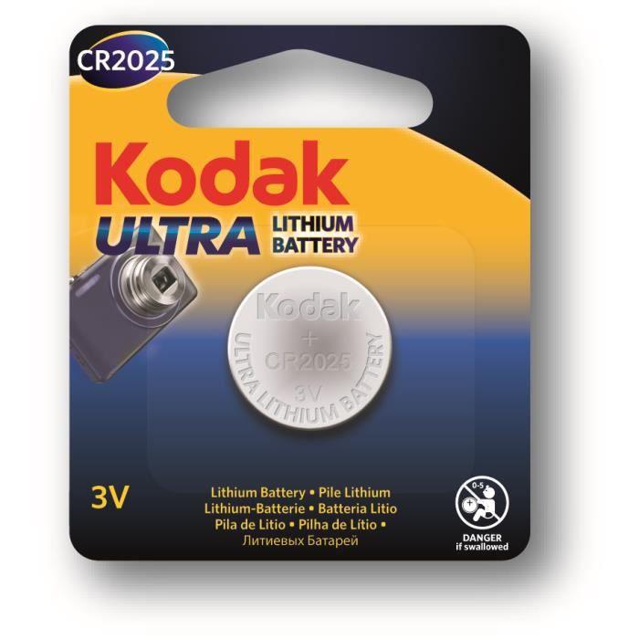 KODAK Piles bouton Ultra lithium CR2025 3V batterie - Vendu à l'unité