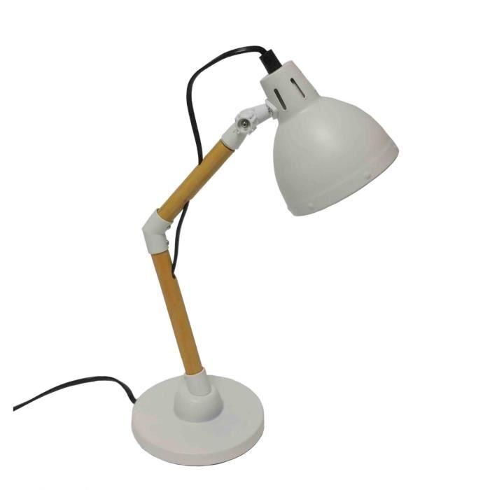 lampe de bureau en m tal et bois avec bras articul. Black Bedroom Furniture Sets. Home Design Ideas