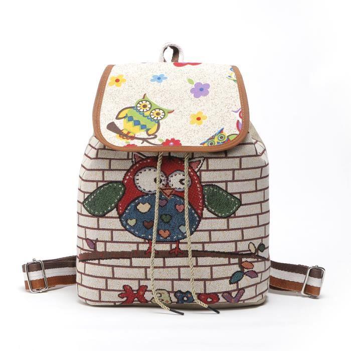 1341e44b9f Sac à dos en toile, sac à bandoulière, oiseau de dessin animé, sac pour fille  sac à main