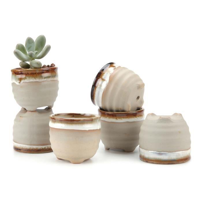 JARDINIÈRE - POT FLEUR  T4U 6 CM Pots En Céramique.Base Noire.Série plante