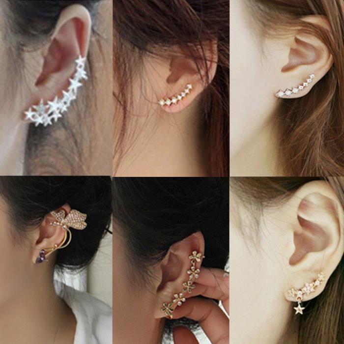 Bijoux D Oreille Cartilage boucles d'oreilles cartilage Étoile perles strass cristal bijoux