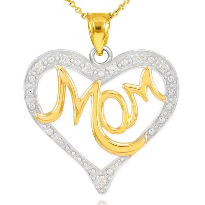Pendentif Pendentif 14 ct Diamants en or 585/1000 Deux de tonalité clouté Mère Cœur