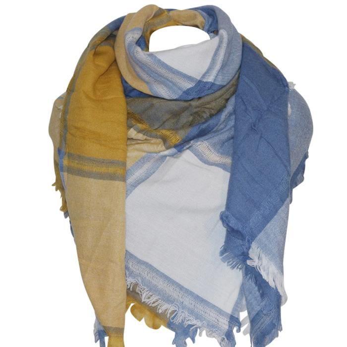 Grosse écharpe XXL moutarde-bleue - Achat   Vente echarpe - foulard ... 4b415aa5eaa