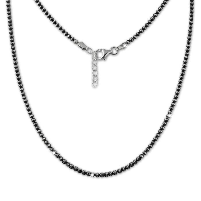 SilberDream Collier à Boules - Noirci - Argent 925 - Femme - 44cm-47cm - Bijoux SDK11045J