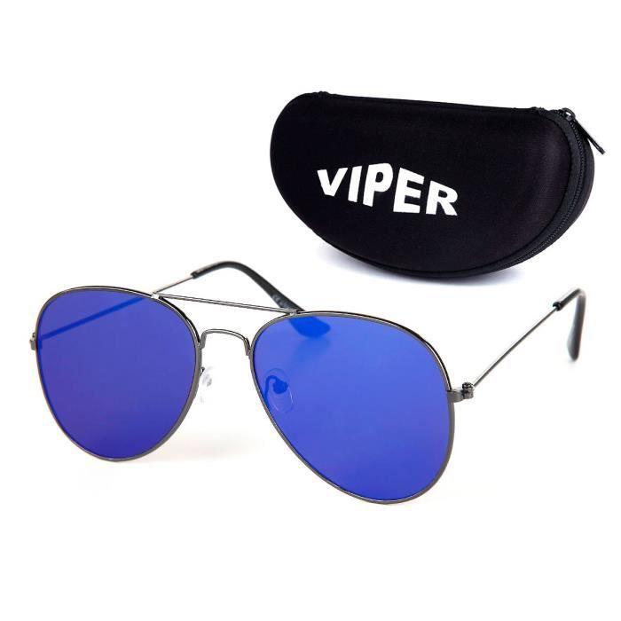 Lunettes de soleil et Étui VIPER noir semi-rigide (Br-E04) etui pochette  design pilote police type Aviator très vintages fashion c9c50ed3c74b
