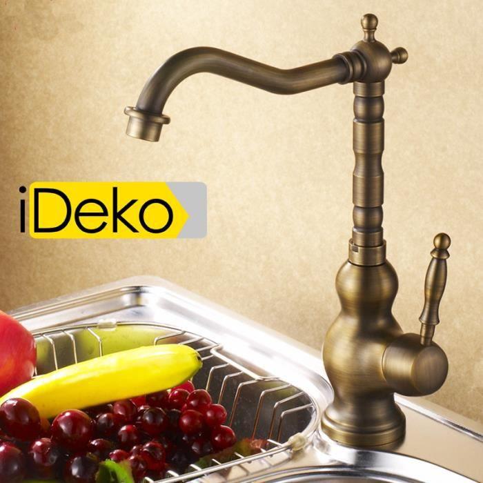IDeko® Robinet Mitigeur cuisine rétro en laiton céramique & Flexible ...