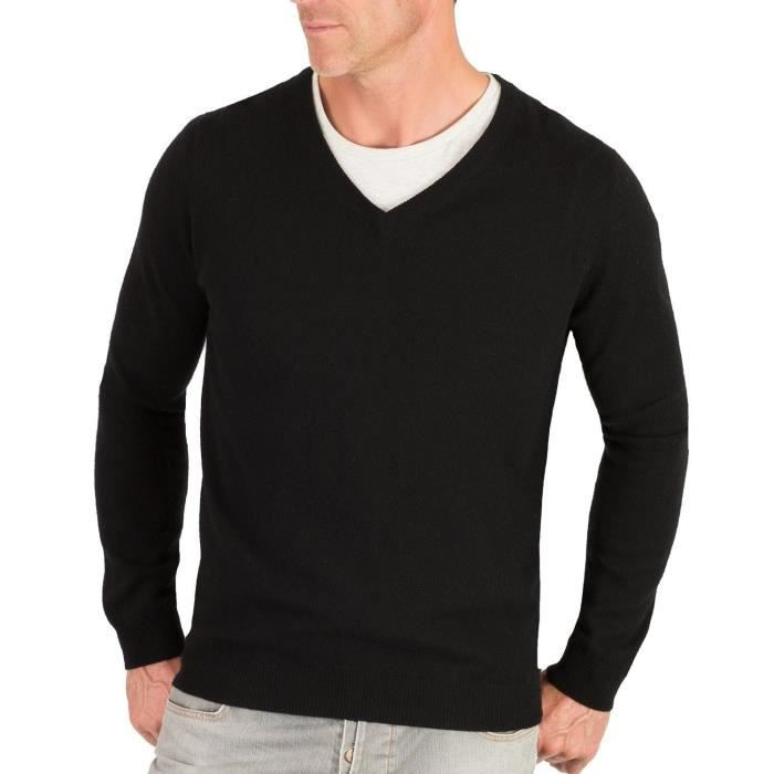 3ae890a4c08 Pull col V homme laine cachemire Noir noir - Achat   Vente pull ...