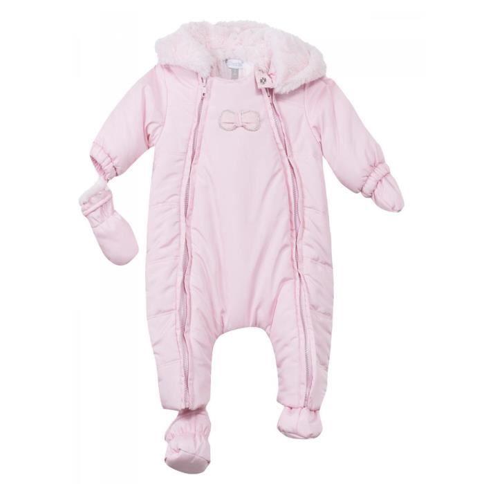 7450042696025 ABSORBA - Combinaison pilote à capuche rose tendre intérieur fausse fourrure  bébé fille Absorba