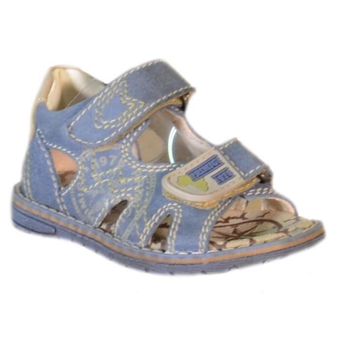 Primigi Sandales pour Garçon Bleu Cuir Velcro 81262