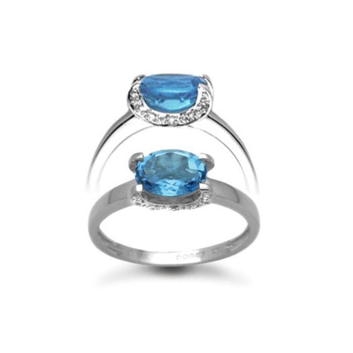 Jewelco London Or Blanc 18k Ovale Bleu Topaze et Diamant Fantaisie Solitaire Bague