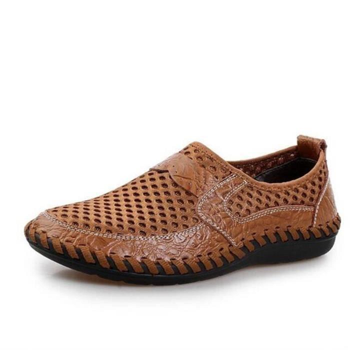 TYERY Sandales en Cuir Faits à la Main Pour Hommes Confort Tout Pantoufles Pantoufles Respirantes Cool Hommes Chaussures, Noir, 43