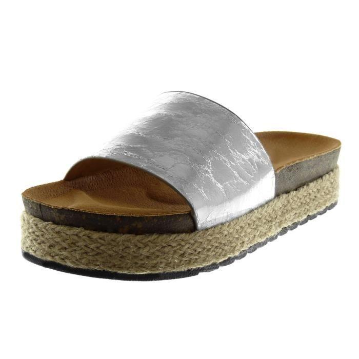 3964a8158a91d Angkorly - Chaussure Mode Sandale Mule slip-on plateforme effet vieilli  femme brillant corde liège Talon compensé plateforme 4 CM -