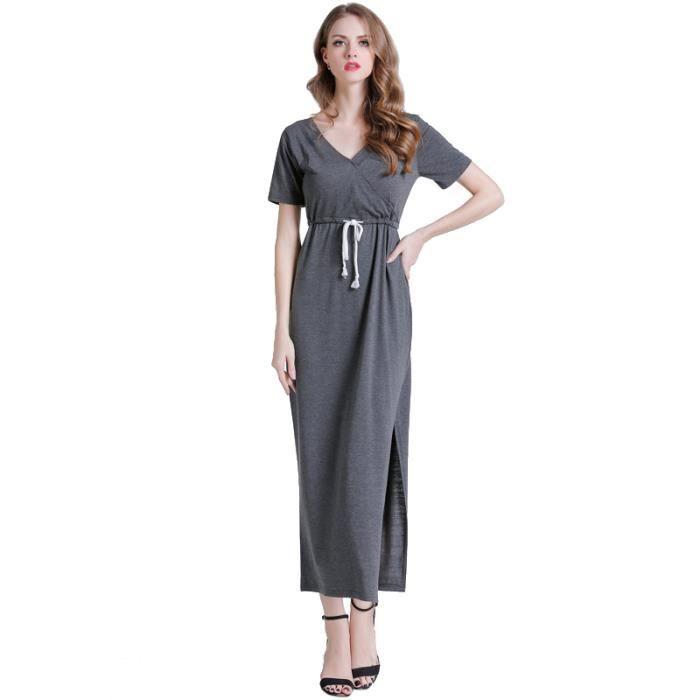 a196621a926 Robe Femme été col V longue sexy taille élastique mode slim fit Gris SIMPLE  FLAVOR