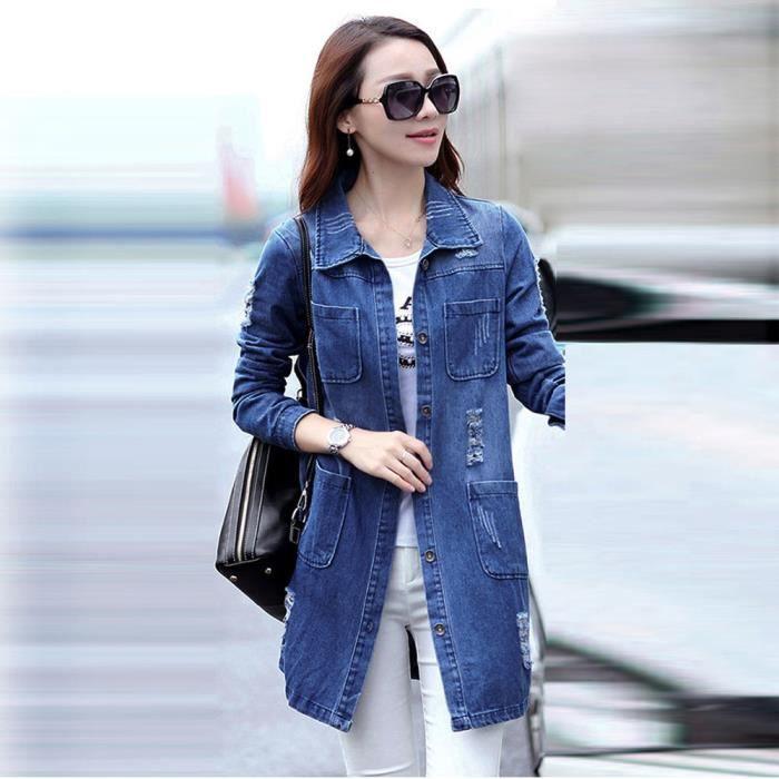 profitez de la livraison gratuite vente chaude réel Prix usine 2019 Femmes Mode manches longues Veste en jean long manteau Jean Outwear  Pardessus Bleu
