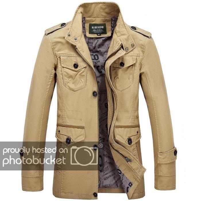 48d7b41d7eb9 Slim Manteau Décontracté Coton Montant Grande Col En Homme Taille L automne  wqqTxt