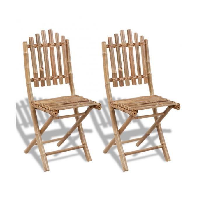 chaise superbe set de 2 chaises pliables en bambou - Chaises Pliables