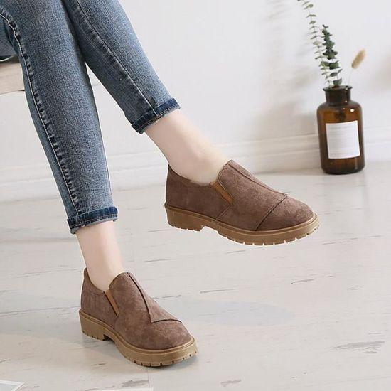 Les Bottes femmes à faible cheville-rond Bottes Les en cuir Toe Casual Slip-on Chaussures Martin @XBJ80719675KH Kaki  Kaki - Achat / Vente slip-on 014537