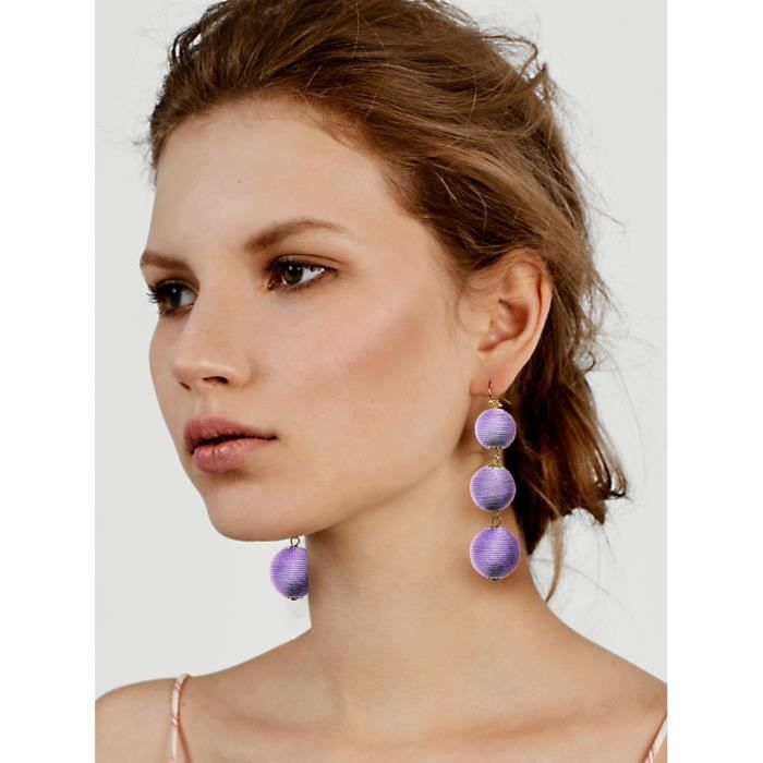 Womens Thread Wrapped Triple Balls Dangle Earrings Lantern Ball Tassel Cute Soriee Drop Earrings F LJJDK