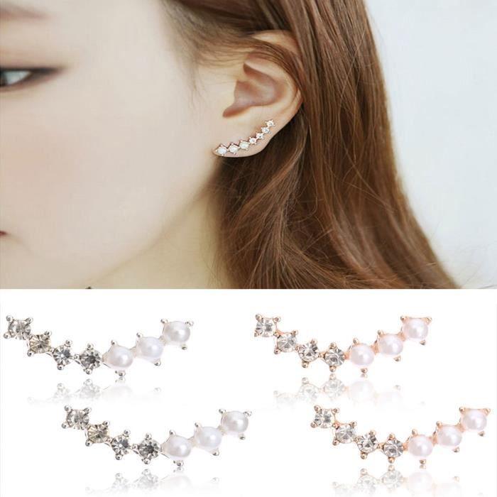 Boucles DOreilles Cartilage Étoile Perles Strass Cristal Bijoux Femme 10 Styles