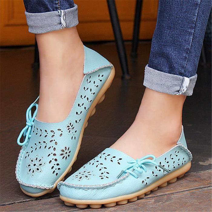 Chaussure Femme Été Qualité Supérieure Classique Loafer Confortable Antidérapant Poids Léger Moccasins Femme Respirant Taille 34