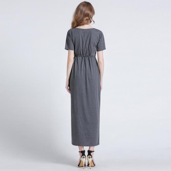 ff2f15f86bf Robe Femme été col V longue sexy taille élastique mode slim fit Gris SIMPLE  FLAVOR ...