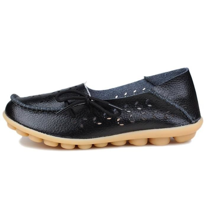 Shoes Leather 1 Loafers Casual 40 Taille Flats Women's 2 Wild H8ufq Driving AqFYxwT4
