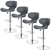 TABOURET DE BAR Tabouret de cuisine gris - Lot de 4 chaises de bar