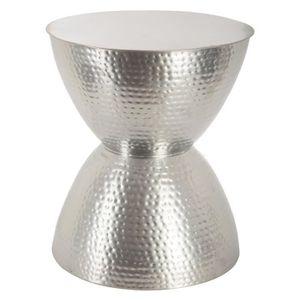TABLE D'APPOINT Table basse Guéridon en métal martelé - GRIS ARGEN