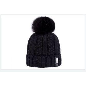 BONNET - CAGOULE 1 Bonnet POMPOM NOIR chaud et doux en tricot doubl 7e3329ac3b2