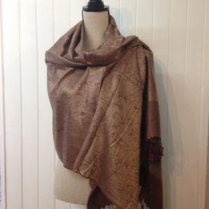 ECHARPE - FOULARD Etole femme laine et soie marron 9b51a458acc