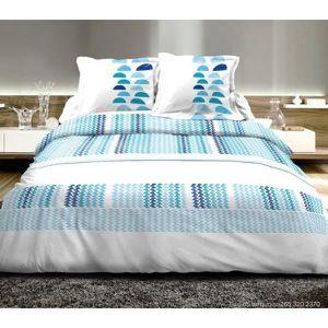 housse de couette bleu turquoise achat vente pas cher. Black Bedroom Furniture Sets. Home Design Ideas