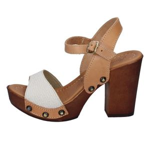 SANDALE - NU-PIEDS Sandale Femme MADE IN ITALY Cuir Marron