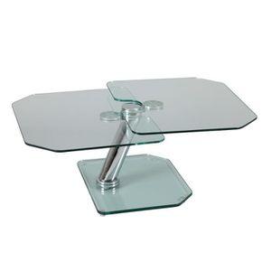 TABLE BASSE Table basse articulée Acier/Verre - GLASS n°4 - L