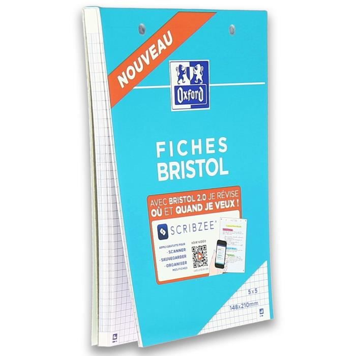 OXFORD Bloc fiche bristol 2.0 perforé - 14,8 x 21 cm - 30 fiches - 210g - 5x5