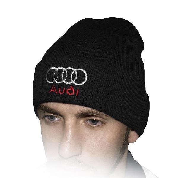 CHAPEAU - BOB Audi Chapeau D'hiver   Noir   Brodé Auto Logo Homm