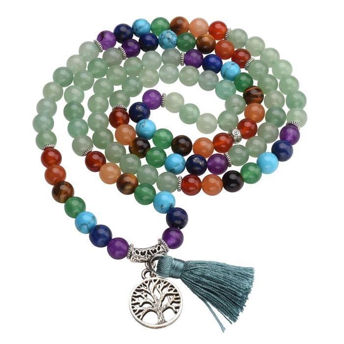 Womens 7 Chakra Buddhist Mala Prayer Beads 108 Meditation Healing Multilayer Bracelet-necklace W-t O4DWE