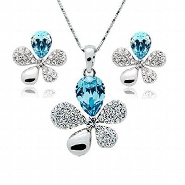 Womens 18k White Gold Plated Blue Austrian Crystal Adelia Pendant Set For AndJZNV5
