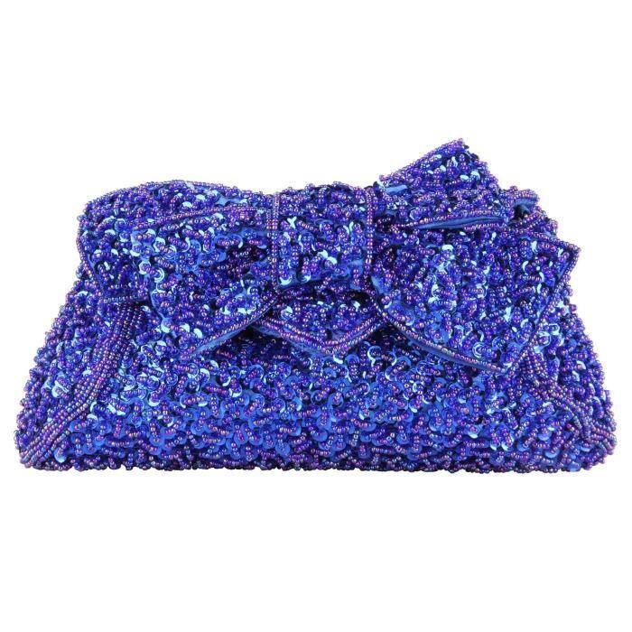Femmes pleine Paillettes main perlé Bow Prom sac à main dembrayage de soirée nuptiale Gaf520 AQ8SW