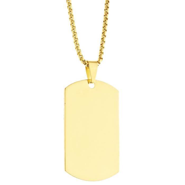 Collier pendentif en acier inoxydable - Dog Tag gold