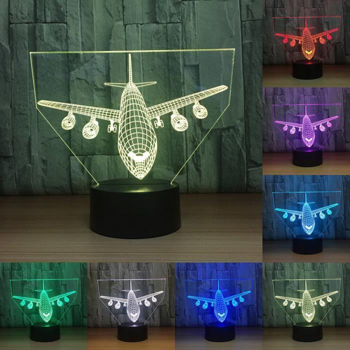 Avions 3D LED Nuit Lumière Chambre Ambiance Enfants Lampe De Bureau ...