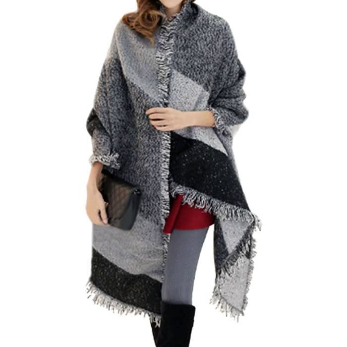 9398ef3a91aa Tooopfeel Echarpe Femmes plaid frangée Femme laine Châle Cachemire - gris  et noir