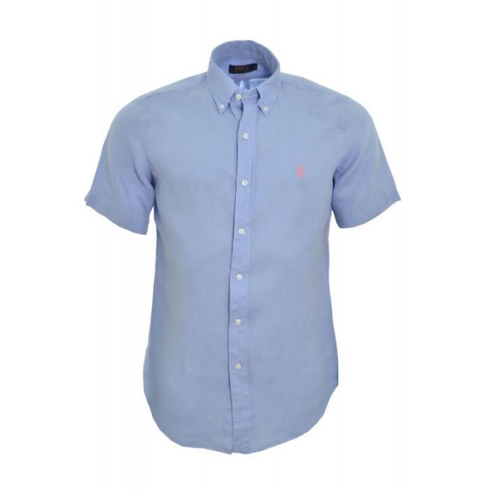 magasins populaires taille 40 dernière sélection Chemise manches courtes Ralph Lauren bleu en lin pour homme ...
