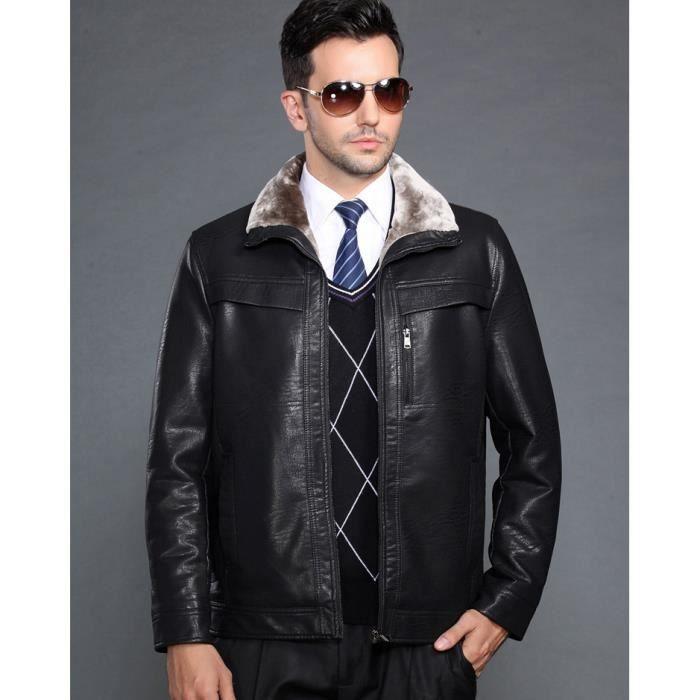 Veste en cuir et fourrure homme