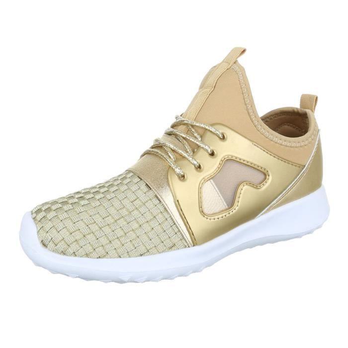 femme chaussures décontractées chaussure coureur chaussure de sportBaskets or