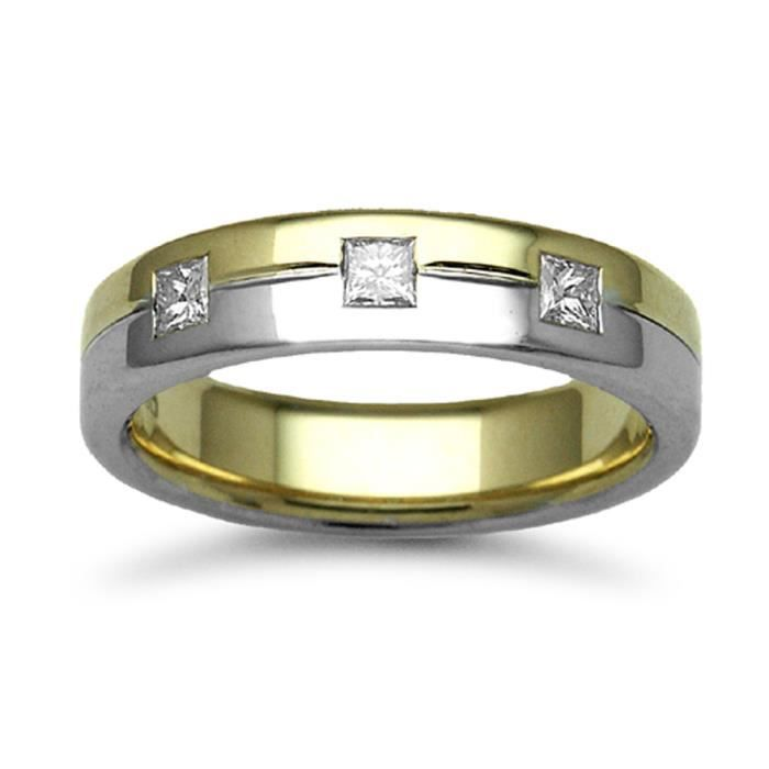 Jewelco London Or 2 couleurs 9k 0.3ct Diamant mariage bague 5mm