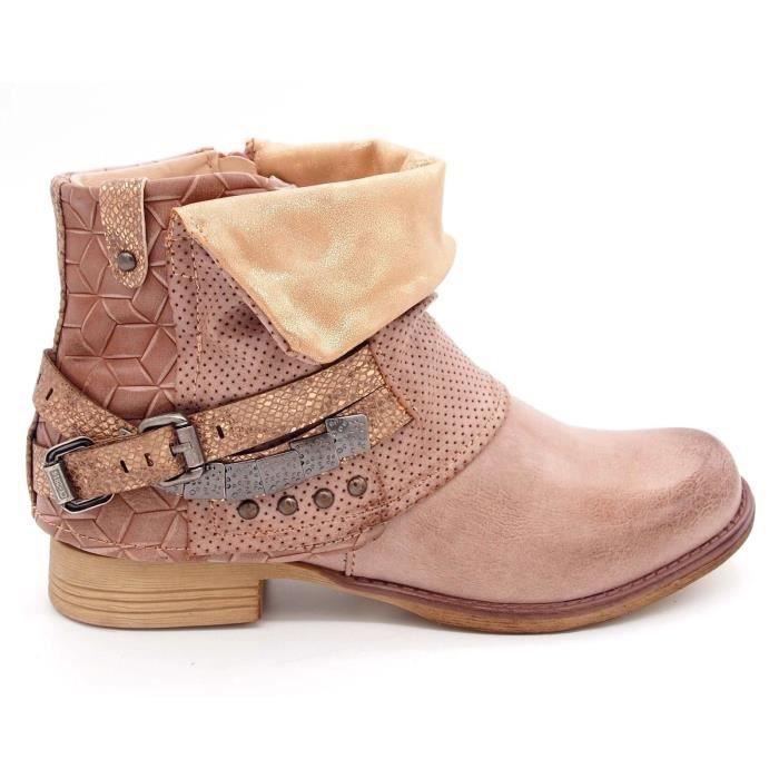 Chaussures Bottines boots à boucle femme Bout rond Talon plat cuir synthétique