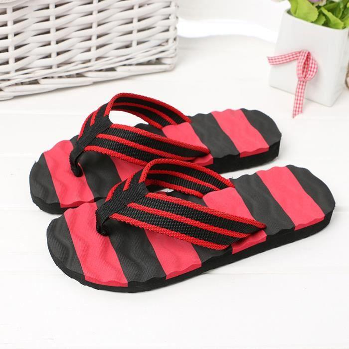 Ljj80309874rd Pantoufles Pour Flip D'intérieur Hommes D'été De Pilerty®sandales Chaussures Rouge Extérieures Plage flops qPwt155